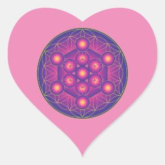 Pegatina En Forma De Corazón El cubo de Metatron en la flor de la vida