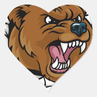 Pegatina En Forma De Corazón El fondo enojado de la mascota del oso agarra