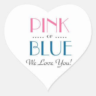Pegatina En Forma De Corazón El género rosado o azul elegante revela al