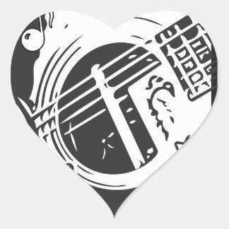 Pegatina En Forma De Corazón El jugar de la guitarra del amante de la música