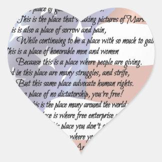 Pegatina En Forma De Corazón El poster del arte de la poesía de la bandera de