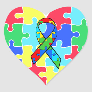 Pegatina En Forma De Corazón El rompecabezas del corazón del autismo junta las