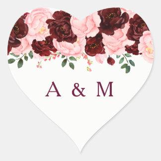Pegatina En Forma De Corazón El rosa se ruboriza el casarse floral subió