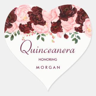 Pegatina En Forma De Corazón El rosa se ruboriza fiesta subió Borgoña de