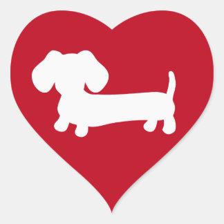 Pegatina En Forma De Corazón El sobre del amor del corazón del Dachshund sella
