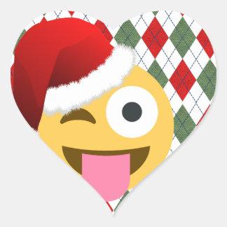 Pegatina En Forma De Corazón emoji del guiño de Papá Noel
