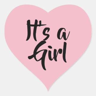 Pegatina En Forma De Corazón Es un chica. Ducha de bebé