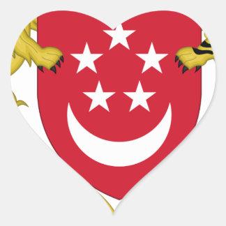 Pegatina En Forma De Corazón Escudo de armas del emblema del 新加坡国徽 de Singapur