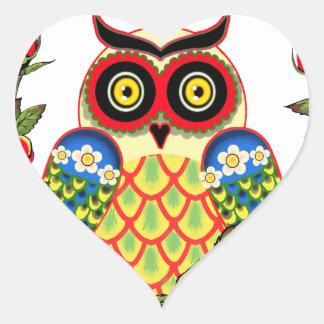 Pegatina En Forma De Corazón Estilo del búho y del mexicano de los rosas
