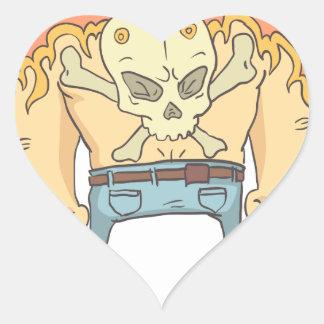 Pegatina En Forma De Corazón Estilo resumido criminal peligroso tatuado de los
