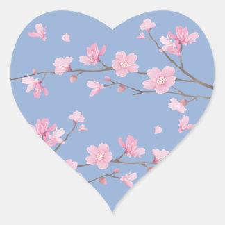 Pegatina En Forma De Corazón Flor de cerezo - azul de la serenidad
