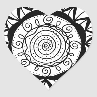 Pegatina En Forma De Corazón Flor espiral de la mandala