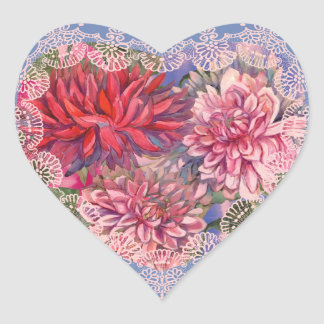 Pegatina En Forma De Corazón flores de las dalias