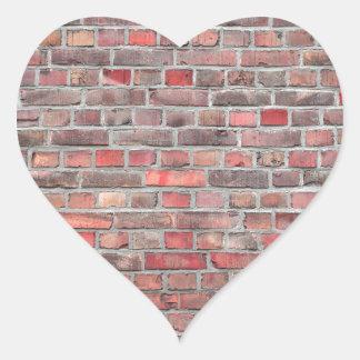 Pegatina En Forma De Corazón fondo de la pared de ladrillo - piedra roja del