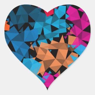 Pegatina En Forma De Corazón Formas geométricas coloridas 3D