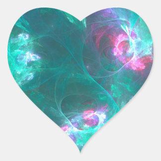 Pegatina En Forma De Corazón Fractal abstracto en una paleta fría