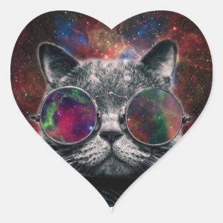 Pegatina En Forma De Corazón Gafas que llevan del gato del espacio delante de