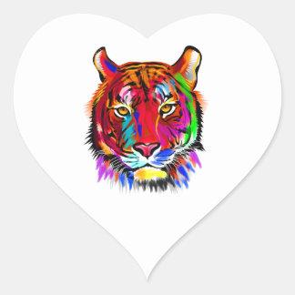 Pegatina En Forma De Corazón Gato de muchos colores