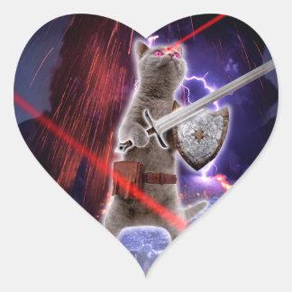 Pegatina En Forma De Corazón gatos del guerrero - gato del caballero - laser