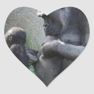 Pegatina En Forma De Corazón Gorila