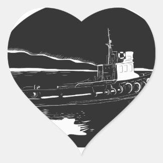 Pegatina En Forma De Corazón Grabar en madera del óvalo del remolcador del río