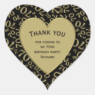 Pegatina En Forma De Corazón Gracias - 70.o negro del cumpleaños y corazón del