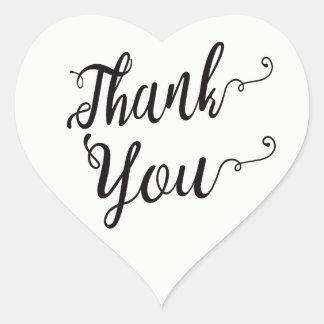 Pegatina En Forma De Corazón Gracias la tipografía negra y blanca del banquete