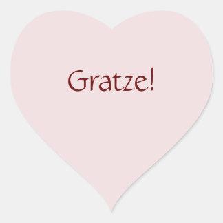 """Pegatina En Forma De Corazón """"Gratze básico simple!"""" Diseño del texto"""