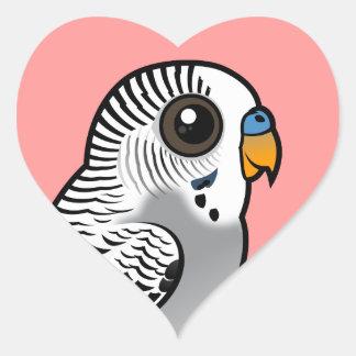 Pegatina En Forma De Corazón Gris Budgie de Birdorable