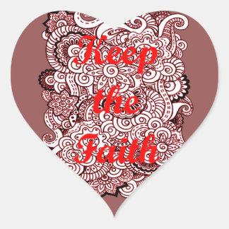 Pegatina En Forma De Corazón Guarde la fe
