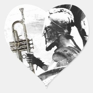 Pegatina En Forma De Corazón Guerrero de la trompeta