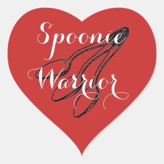 Pegatina En Forma De Corazón Guerrero de Spoonie - rojo brillante