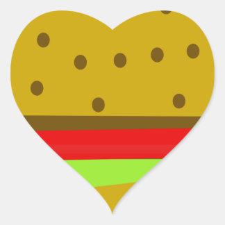 Pegatina En Forma De Corazón Hamburguesa de los alimentos de preparación rápida