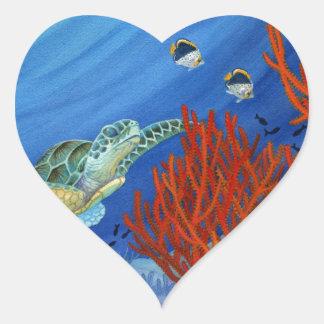 Pegatina En Forma De Corazón Honu y coral negro