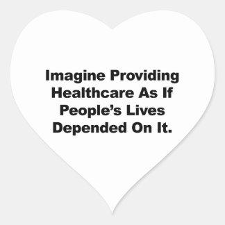 Pegatina En Forma De Corazón Imagínese las vidas de la gente de la atención
