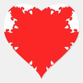 Pegatina En Forma De Corazón Impresión circular roja