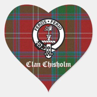 Pegatina En Forma De Corazón Insignia del tartán y del escudo de Chisholm del