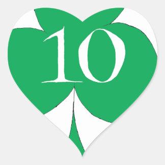 Pegatina En Forma De Corazón Irlandés afortunado 10 de los clubs, fernandes
