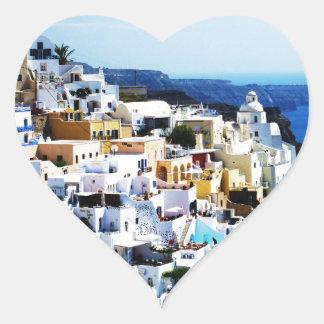 Pegatina En Forma De Corazón Isla de Santorini en la FOTO de Grecia