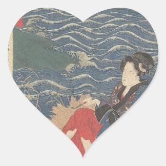 Pegatina En Forma De Corazón Japonés Woodprint