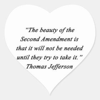 Pegatina En Forma De Corazón Jefferson - segunda enmienda