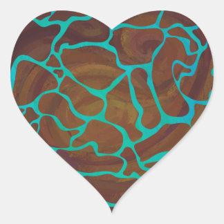 Pegatina En Forma De Corazón Jirafa Brown e impresión verde azulada