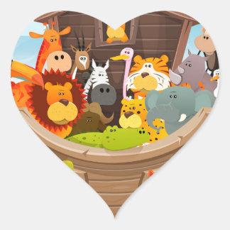 Pegatina En Forma De Corazón La arca de Noah con los animales de la selva