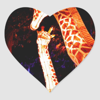 Pegatina En Forma De Corazón La jirafa enciende para arriba arte del festival