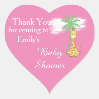 Pegatina En Forma De Corazón La jirafa rosada de la fiesta de bienvenida al