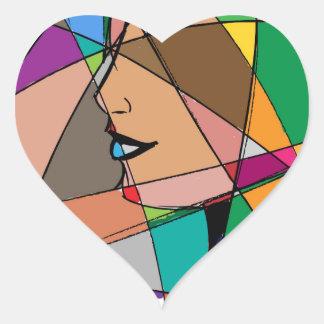 Pegatina En Forma De Corazón La mujer abstracta de Stanley Mathis