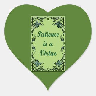 Pegatina En Forma De Corazón La paciencia es una virtud