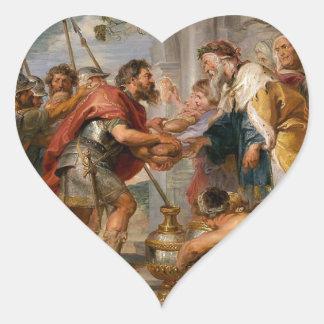 Pegatina En Forma De Corazón La reunión de Abraham y del arte de Melchizedek