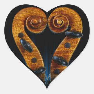 Pegatina En Forma De Corazón La voluta del violín fija el corazón
