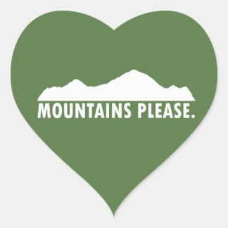 Pegatina En Forma De Corazón Las montañas satisfacen